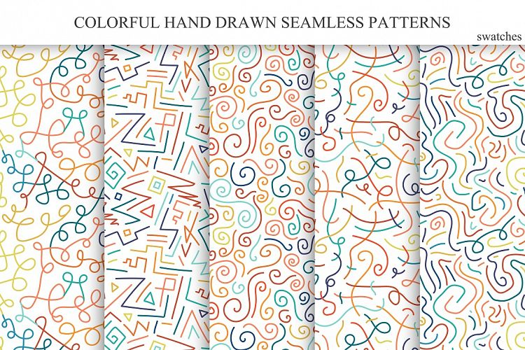 Hand drawn seamless color patterns. example image 1