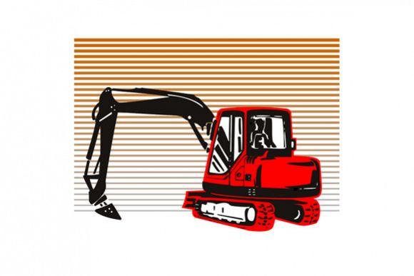 Mechanical Digger Excavator Retro example image 1
