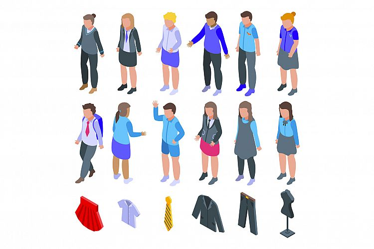 School uniform icons set, isometric style example image 1