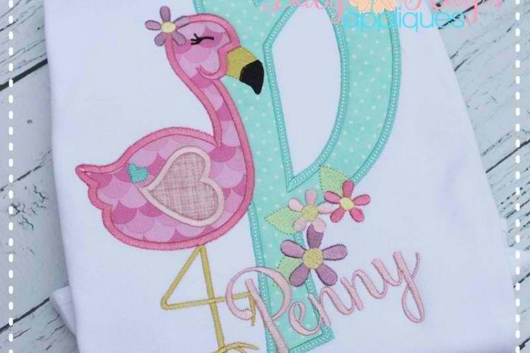 Flamingo Applique Alpha - A-Z - 4 Hoop Sizes! example image 1