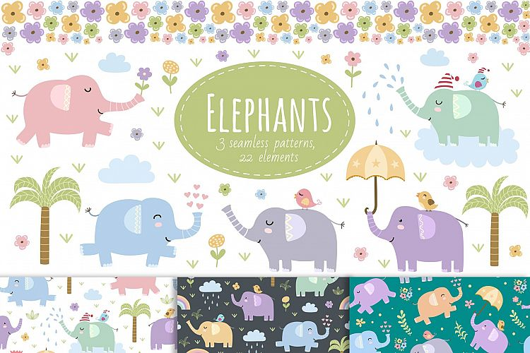 Elephants: seamless patterns & clipart example image 1