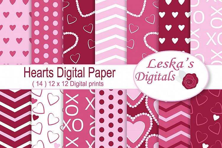 Hearts Digital Paper - Pink and Red example image 1