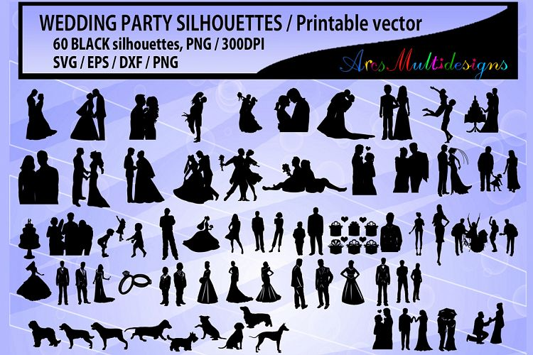 Wedding silhouette SVG / Wedding party silhouette 60 image example image 1