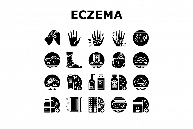 Eczema Disease Treat Collection Icons Set Vector example image 1