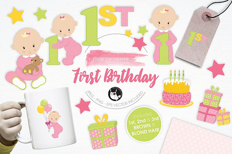 First Birthday graphics and illustrations example image 1