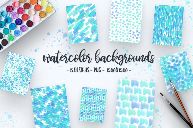 Summer Watercolor Backgrounds example image 1
