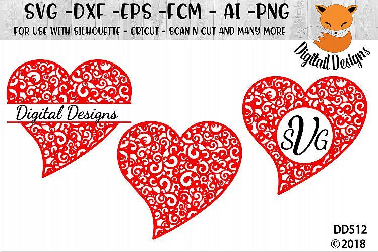 Valentine Heart SVG -Silhouette - Cricut example image 1