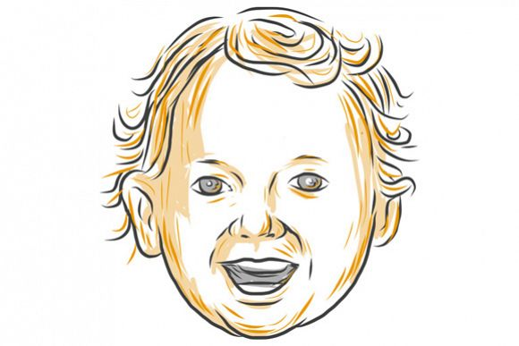 Caucasian Toddler Smiling Drawing example image 1