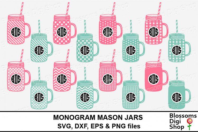 Monogram Mason Jars 116748 Monograms Design Bundles