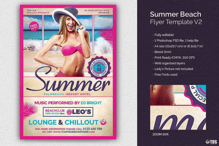 Summer Beach Flyer Template V2 example image 1