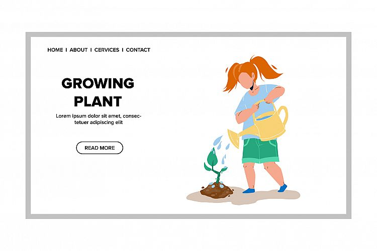 Growing Plant In Garden And Girl Watering Vector example image 1