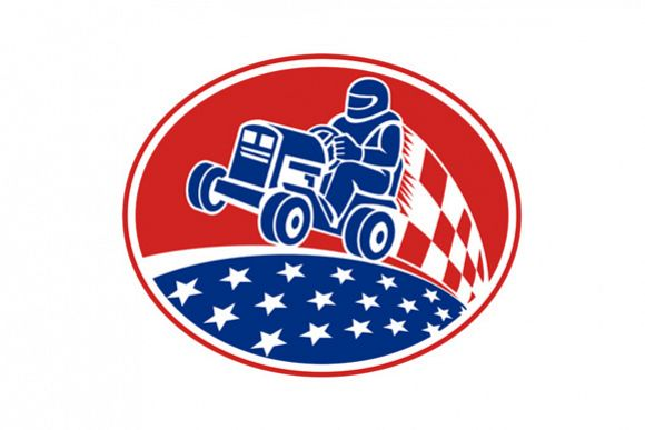 Ride On Lawn Mower Racing Retro example image 1