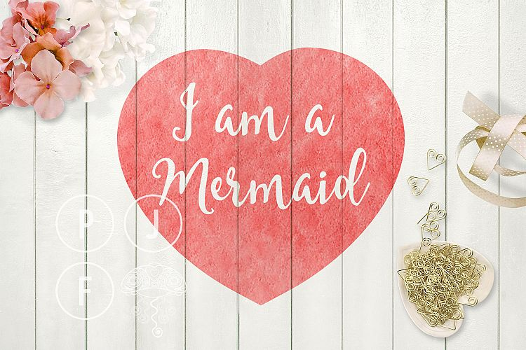 mermaid svg cut file for silhouette, cameo, I am a mermaid heart example image 1