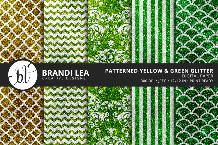Patterned Yellow and Green Glitter Digital Paper example image 1