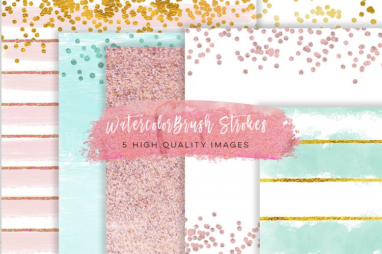 Rose Gold Digital Paper, Pretty Romantic Background, Chic Elegant Gold Glitter Paper, JPG Instant Download, mint green, rose and mint paper  example image 1