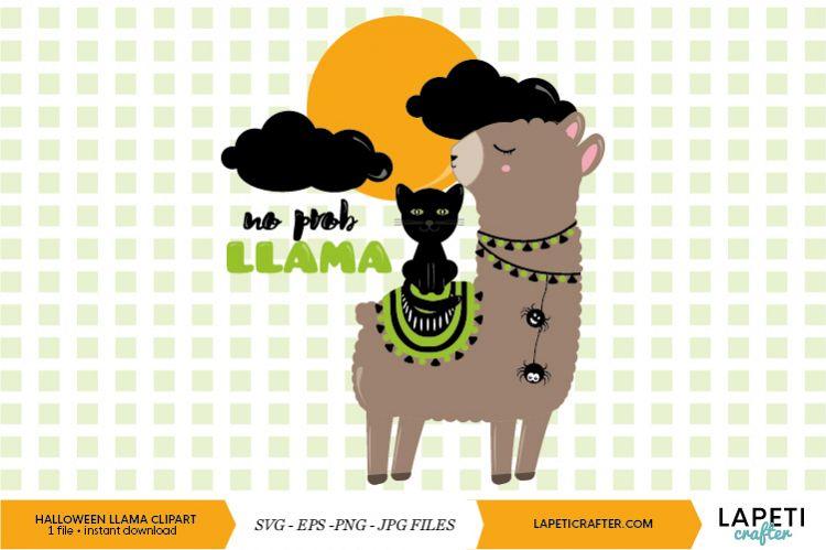 Halloween Llama Clipart Funny Llama Digital Clipart