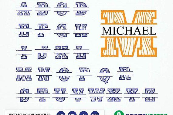 Split Monogram Alphabet Svg Dxf Eps Split Letters Svg