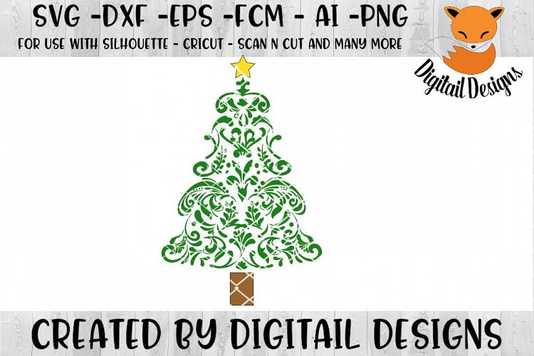 Download Swirly Christmas Tree SVG for Silhouette, Cricut