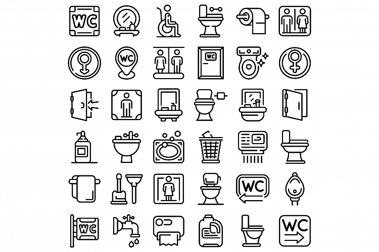 Wc icons set, outline style example image 1