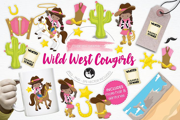 Wild West Cowgirls graphics and illustrations example image 1