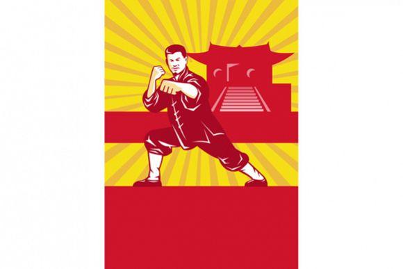 Shaolin Kung Fu Martial Arts Master Retro example image 1