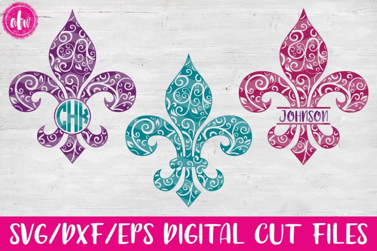 Swirl Fleur de Lis Set - SVG, DXF, EPS Cut File example image 1