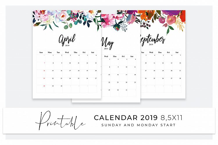Printable Calendar 2019 Sunday Start Monday Start
