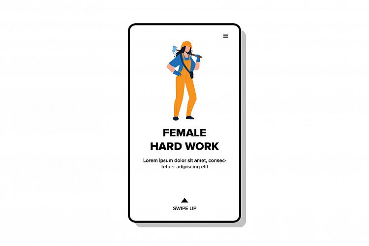 Female Hard Work On Building Or Factory Vector example image 1
