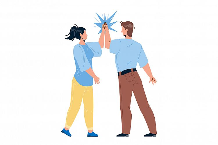 Man Giving High Five Young Woman Friend Vector example image 1
