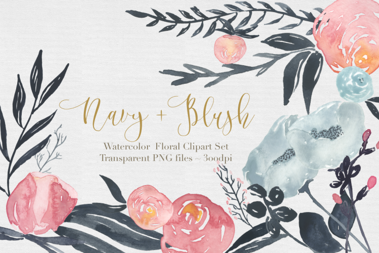 Navy + Blush Watercolor Clipart Set example image 1