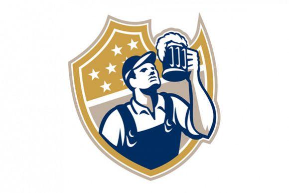 Barman Bartender Beer Mug Retro example image 1