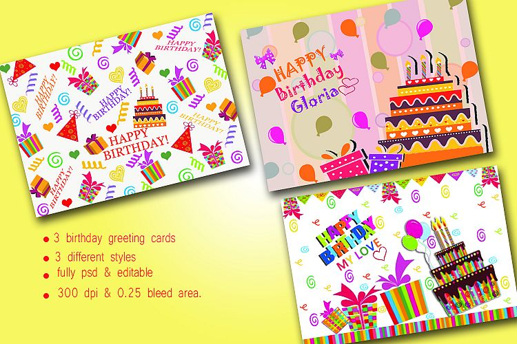 Birthday Greeting Cards Three Different Designs