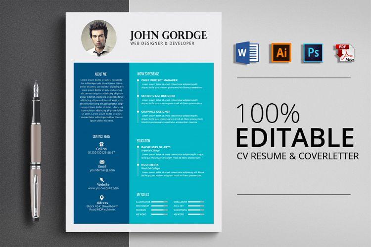 Clean CV Resume Word by Designhub719   Design Bundles