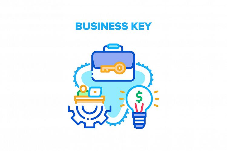 Business Key Vector Concept Color Illustration