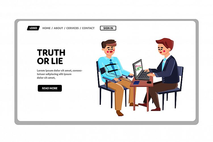 Truth Or Lie Examination Man On Polygraph Vector example image 1