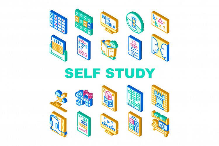 Self Study Lessons Collection Icons Set Vector example image 1