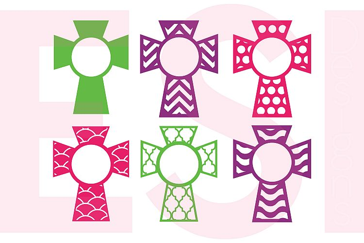 Patterned Cross Designs With Circle for a Monogram - Set 1 example image 1