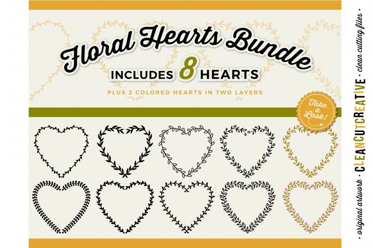 8 svg FLORAL HEARTS leaf heart wreath frames - SVG cut files example image 1