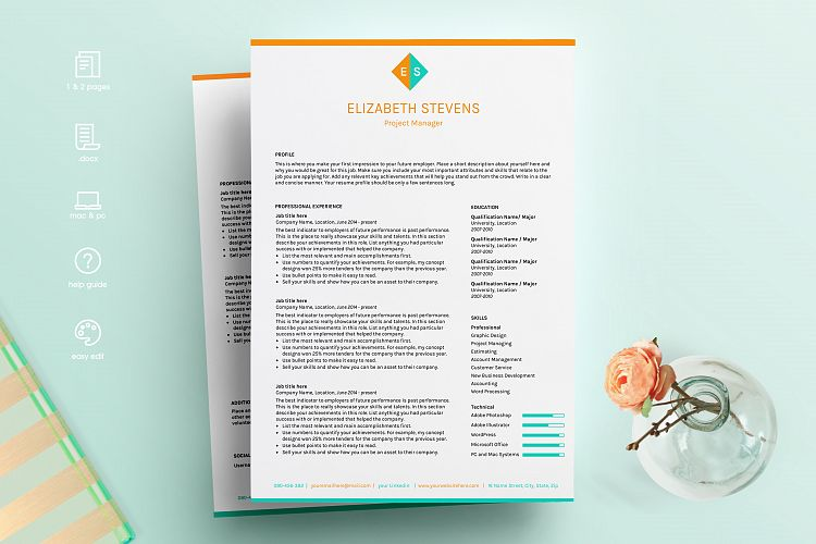 CV template, resume template, resume example image 1