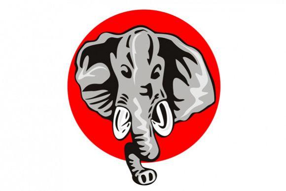 Elephant Head Front Retro example image 1