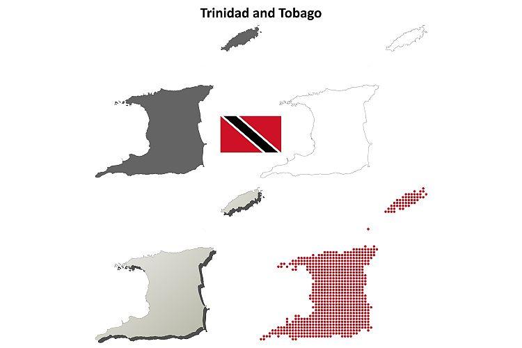 Trinidad and Tobago outline map set