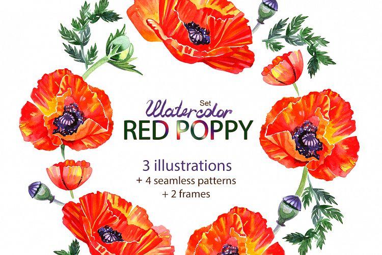 Watercolor poppy - flower set. example image 1