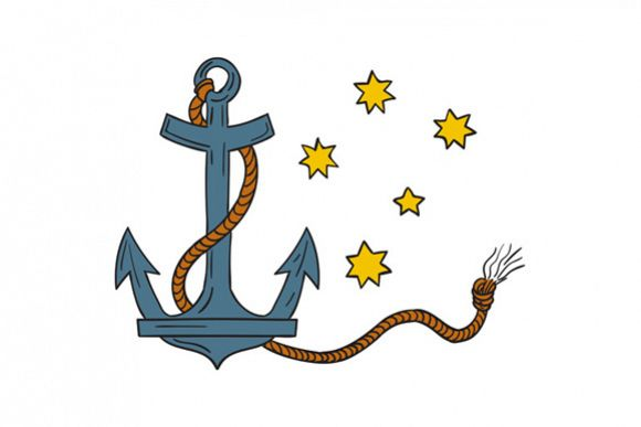 Anchor with Rope and Southern Star Drawing example image 1