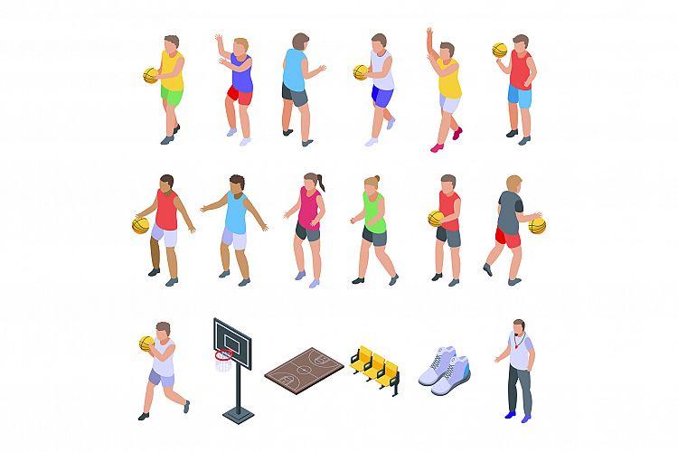 Kids playing basketball icons set, isometric style example image 1
