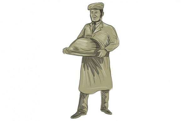 Victorian Waiter Serving Food Platter Drawing example image 1