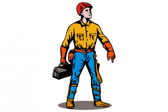 Lineman Standing with Toolbox example image 1
