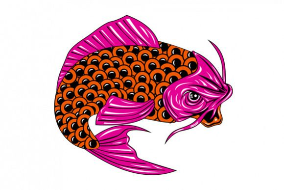 Koi Carp Fish Jumping example image 1