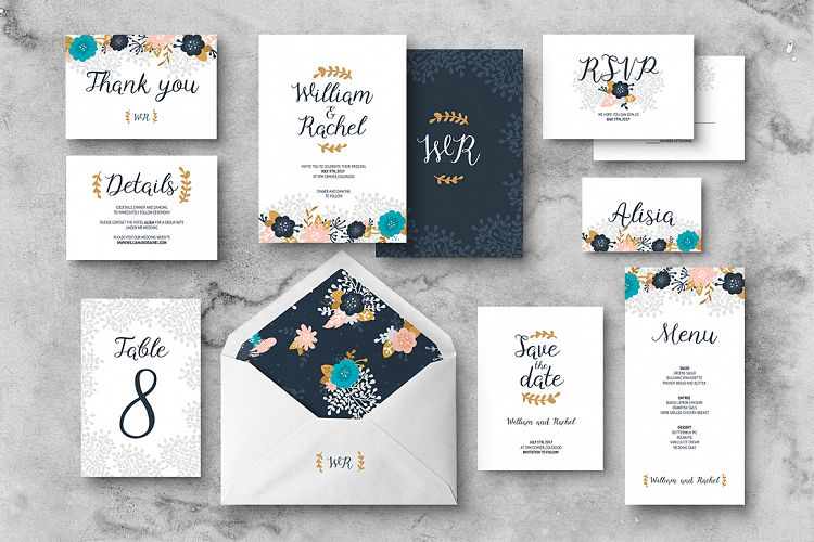Floral Wedding Invitation Suite example image 1