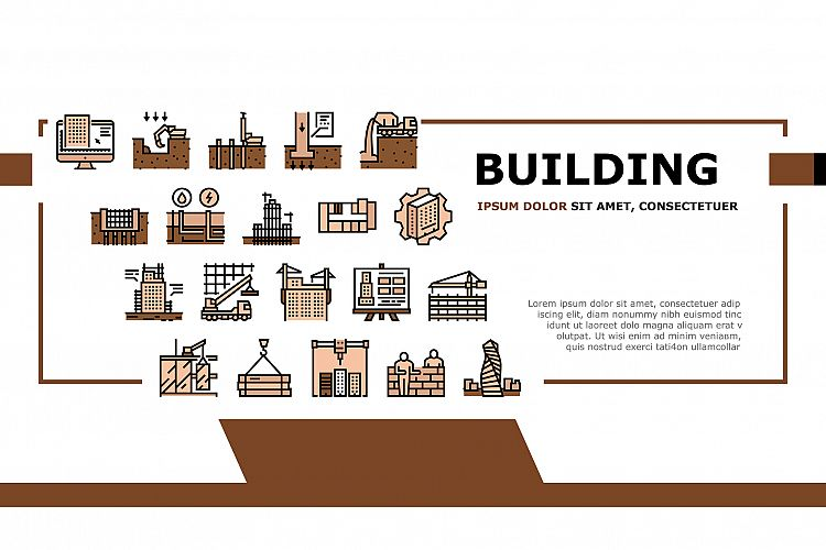 Building Construction Landing Header Vector example image 1