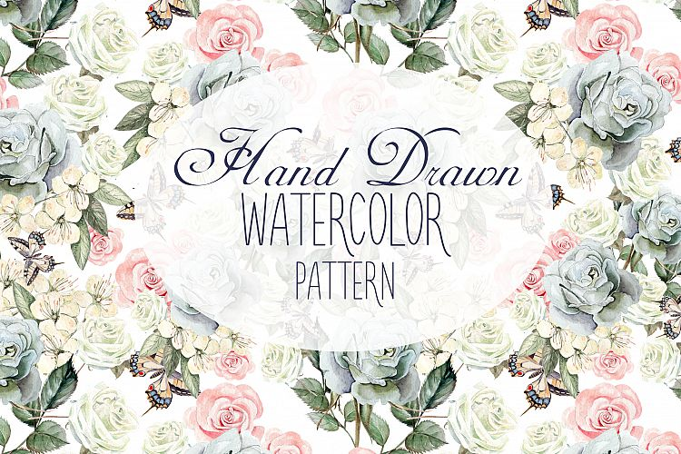 17 Hand Drawn Watercolor Pattern example image 1